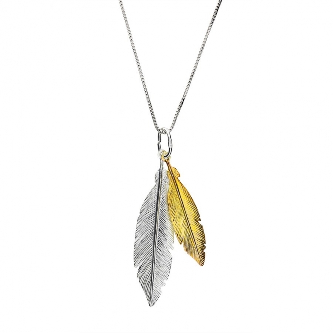 Azendi Gold and Silver Twin Feather Pendant