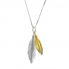 Gold and Silver Twin Feather Pendant