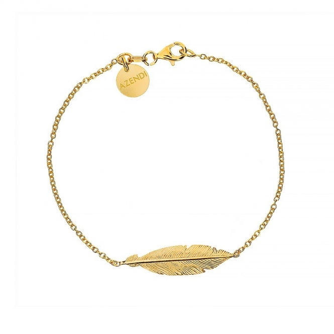 Azendi Gold Plated Feather Bracelet