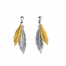 Gold Vermeil Double Feather Earrings