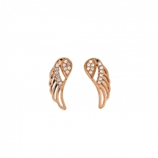 Rose and Pave Outline Angel Wing Studs