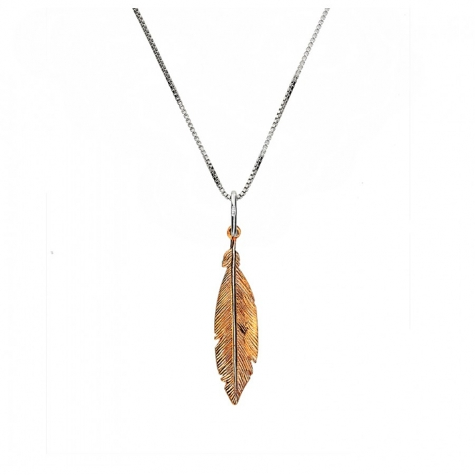 Azendi Rose and Silver Small Feather Pendant