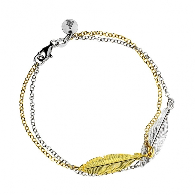 Azendi Silver and Gold Double Feather Bracelet