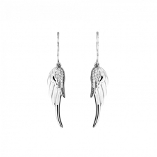 Silver and Pave Double Angel Wing Earrings