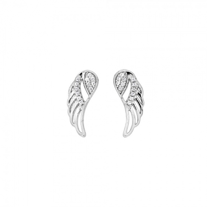 Azendi Silver and Pave Outline Angel Wing Studs