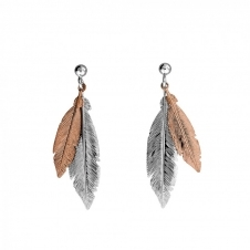 Silver and Rose Double Feather Earrings