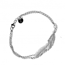 Silver Double Feather Bracelet