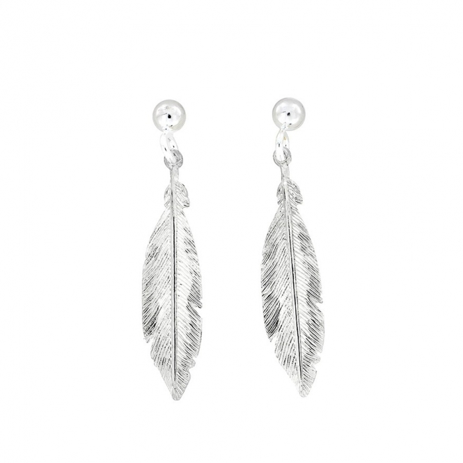 Azendi Silver Feather Earrings