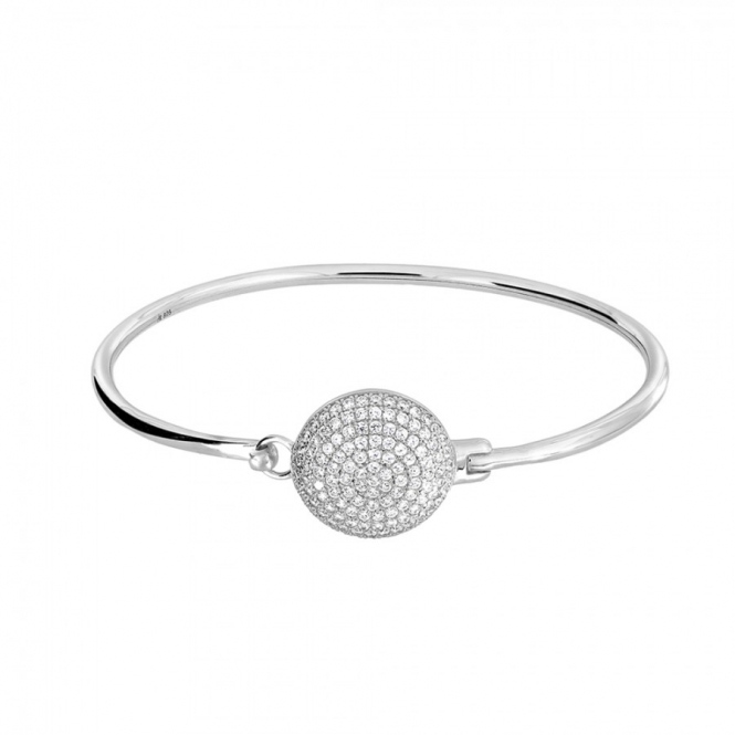 Azendi Silver Pave Disc Bangle