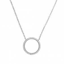 Silver Pave Open Circle Necklace