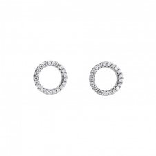 Silver Pave Open Circle Studs