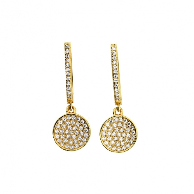 Azendi Small Gold Vermeil Pave Disc Drop Earrings
