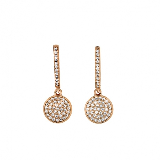 Azendi Small Rose Vermeil Pave Disc Drop Earrings