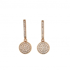 Small Rose Vermeil Pave Disc Drop Earrings