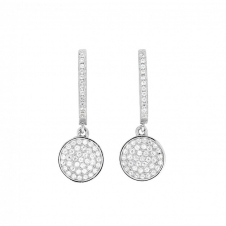 Small Silver Pave Disc Drop Earrings