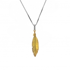 Yellow Gold Plated Small Feather Pendant