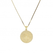 Yellow Vermeil Pave Large Circle Pendant