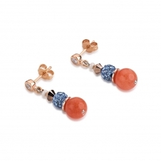Frontline Swarovski Crystals and Crystal Pearls By Swarovski and Rock Aqua-Orange Earrings