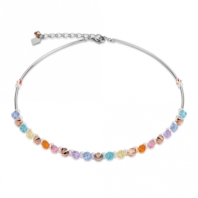 Coeur De Lion Frontline Swarovski Crystals and Crystal Pearls Multicolour Pastel Necklace
