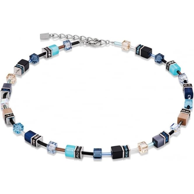 Coeur De Lion Geo Cube Blue-Beige Necklace