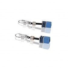 Geo Cube Blue Brown Beige Earrings