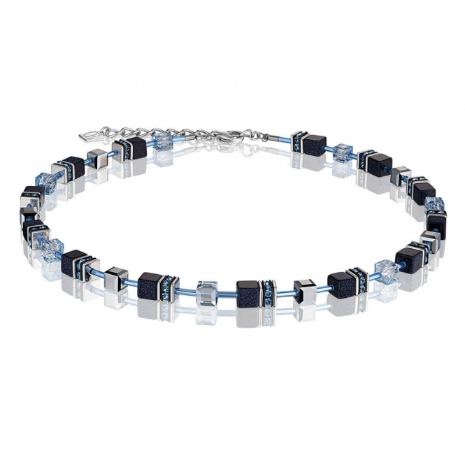 Coeur De Lion Geo Cube Dark Blue Necklace