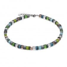 Geo Cube Green-Turquoise Necklace