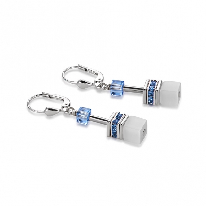 Coeur De Lion Geo Cube Multicolour Pastel-Blue Earrings