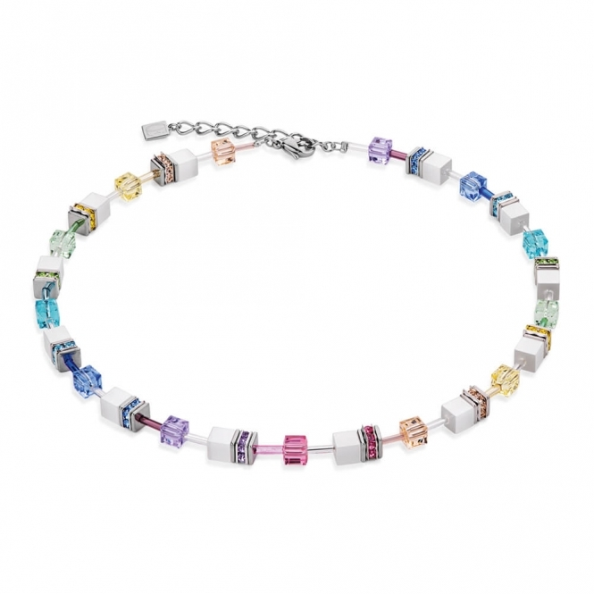 Coeur De Lion Geo Cube Pastel-White Necklace