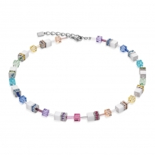 Geo Cube Pastel-White Necklace