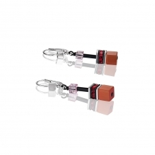 Geo Cube Red Rose Beige Earrings