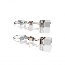 Geo Cube White Earrings