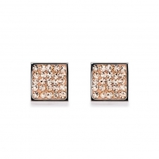 Rhinestone Pave Peach Earrings