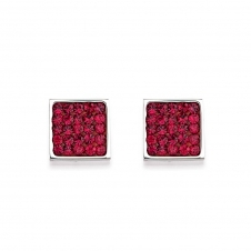 Rhinestone Pave Ruby Earrings