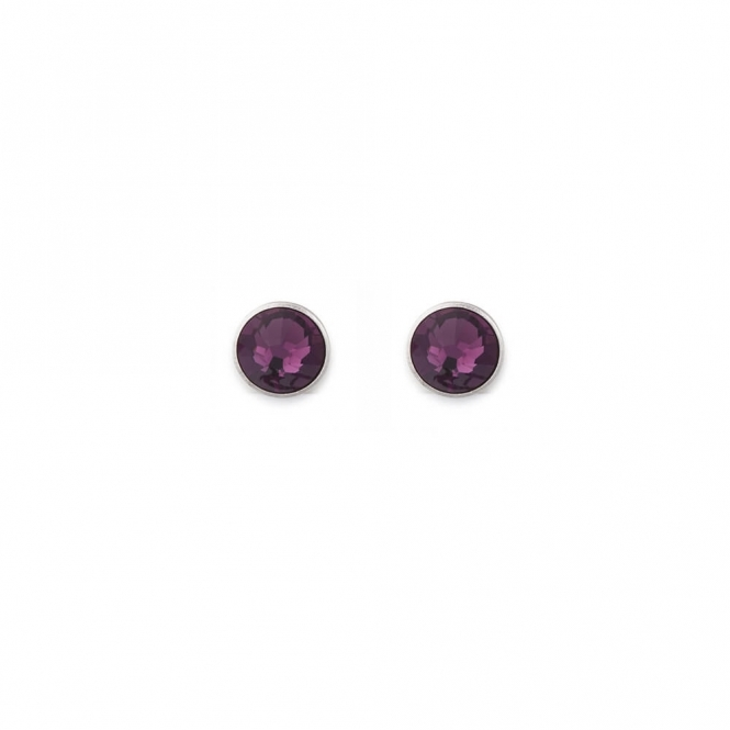 Coeur De Lion Swarovski Crystal Amethyst Stud Earrings