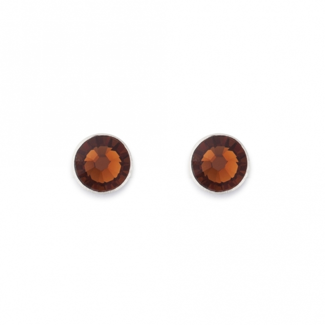 Coeur De Lion Swarovski Crystal Brown Stud Earrings