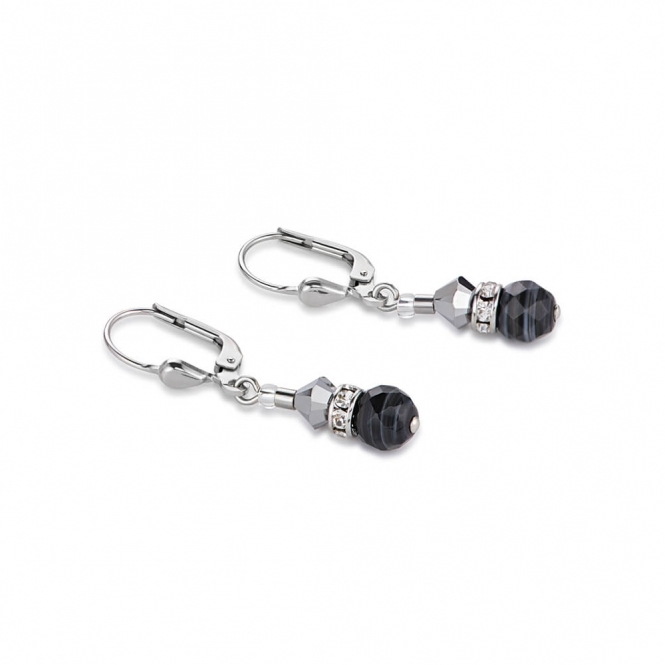 Coeur De Lion Swarovski Crystals and Botswana Agate Black White Earrings