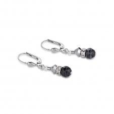 Swarovski Crystals and Botswana Agate Black White Earrings