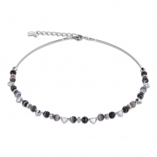 Swarovski Crystals and Botswana Agate Black White Necklace