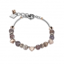 Swarovski Crystals and Botswana Agate Brown Grey Bracelet