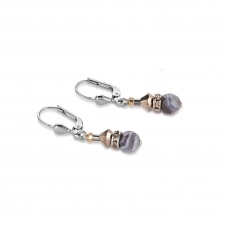 Swarovski Crystals and Botswana Agate Brown Grey Earrings