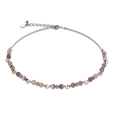 Swarovski Crystals and Botswana Agate Brown Grey Necklace