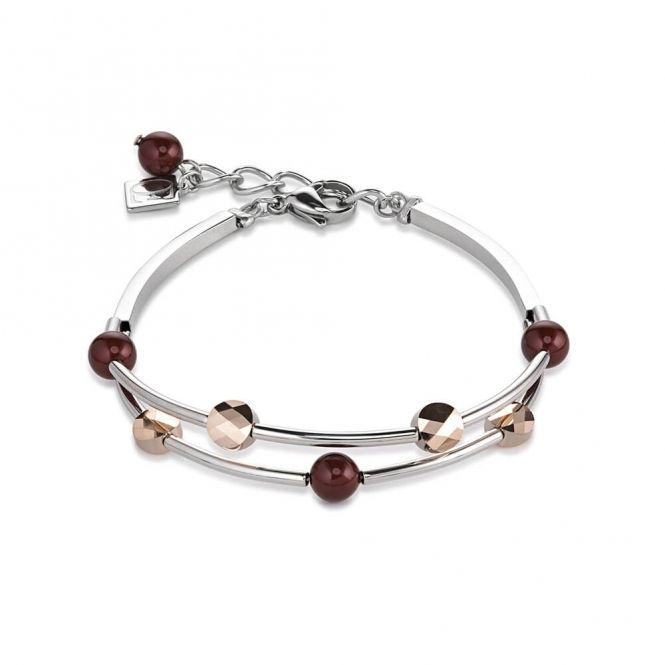 Coeur De Lion Swarovski Crystals and Crystal Pearls Dark Red Bracelet