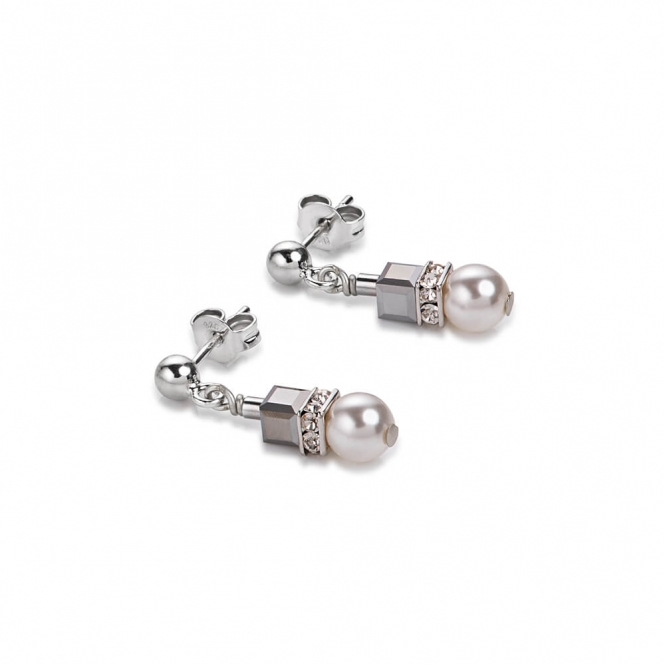 Coeur De Lion Swarovski Crystals and Crystal Pearls Frontline Silver Earrings