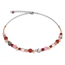 Swarovski Crystals and Crystal Pearls Red Rose Frontline Necklace