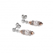Swarovski Crystals and Crystal Pearls Rose Gold Earrings