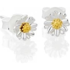 6mm silver and gold stud earrings