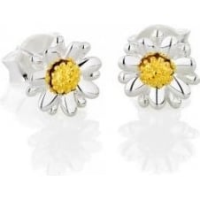7mm silver and gold stud earrings