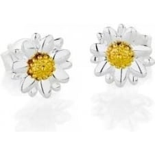 8mm silver and gold stud earrings