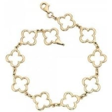 Yellow Gold Plain Cutout 4 Leaf Clover Bracelet